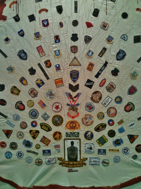 American 'patches' sewn on a parachute