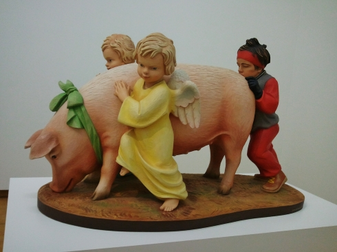 Jeff Koons, Ushering in Banality, inspired by  Hummel figurine ... or ...
