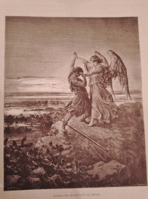 Jacob - soon to  be named 'Israel', wrestling with God - and the angel